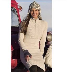 Athleta Sawtooth Sweater Dress SZ XXS Oatmeal A3